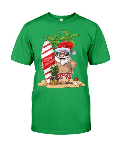 Santa Claus Hawaiian Surfing T-Shirt Xmas