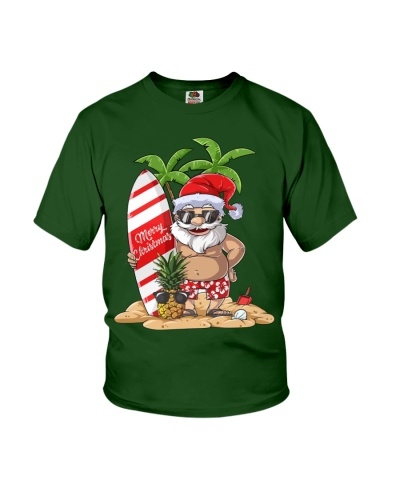 Santa Claus Hawaiian Surfing T-Shirt Xmas