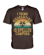 i think quarantine is spelled camping V-Neck T-Shirt thumbnail