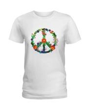 Hippie flower peace Ladies T-Shirt thumbnail