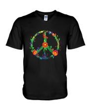 Hippie flower peace V-Neck T-Shirt thumbnail