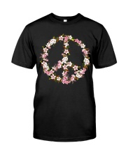 Peace Hippie flower Classic T-Shirt front