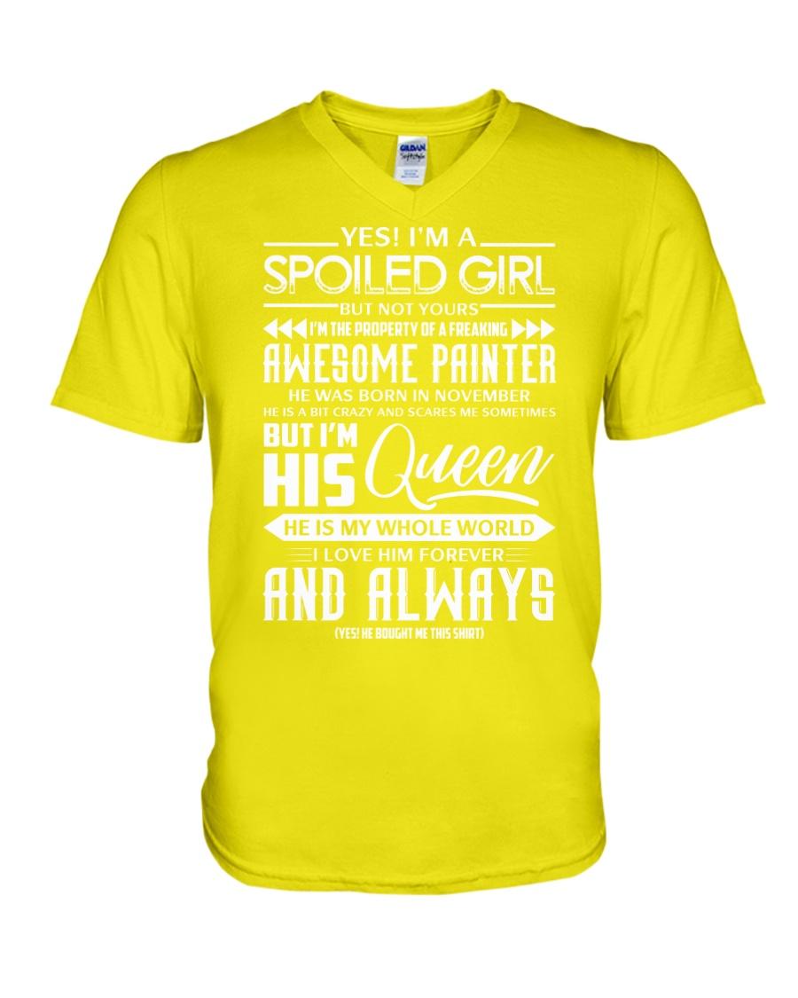 November Painter girl V-Neck T-Shirt
