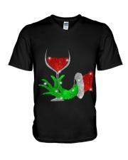 Merry Christmas wine V-Neck T-Shirt thumbnail