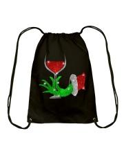 Merry Christmas wine Drawstring Bag thumbnail