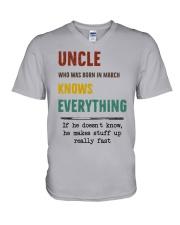 March uncle knows V-Neck T-Shirt thumbnail