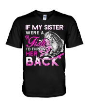 Fishing-my sister V-Neck T-Shirt thumbnail