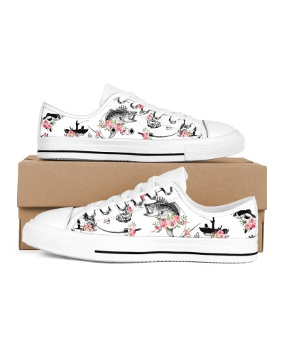 Shoes lowtop fish flowers