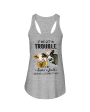 If we get in trouble cow Ladies Flowy Tank thumbnail