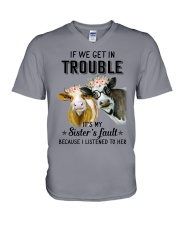 If we get in trouble cow V-Neck T-Shirt front
