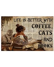 Poster Book coffee cats and book 36x24 Poster front