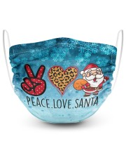 2 Layer Face Mask Christmas Peace Love Santa 2 Layer Face Mask - Single front