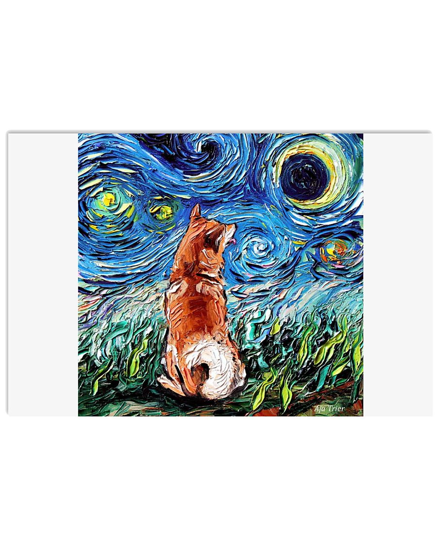 Shiba Inu Art Starry Night  36x24 Poster