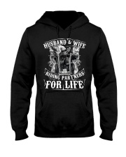 Husband And Wife Riding Partners For Life Hooded Sweatshirt thumbnail