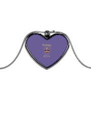 Birthday Queen Heart Shaped Necklace Metallic Heart Necklace front
