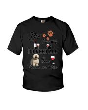 Bichon and wine Youth T-Shirt thumbnail