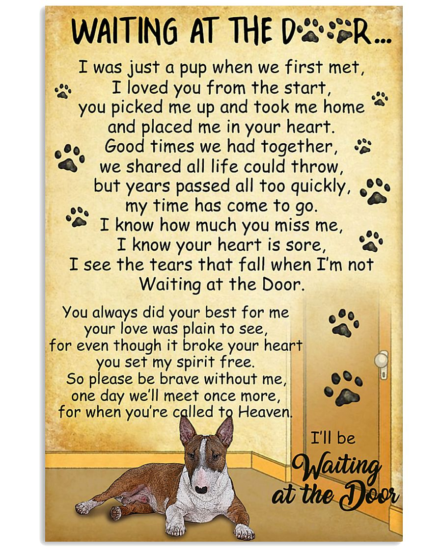 Miniature Bull Terrier Waiting at The Door 11x17 Poster