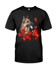German Shepherd And Flowers Classic T-Shirt front