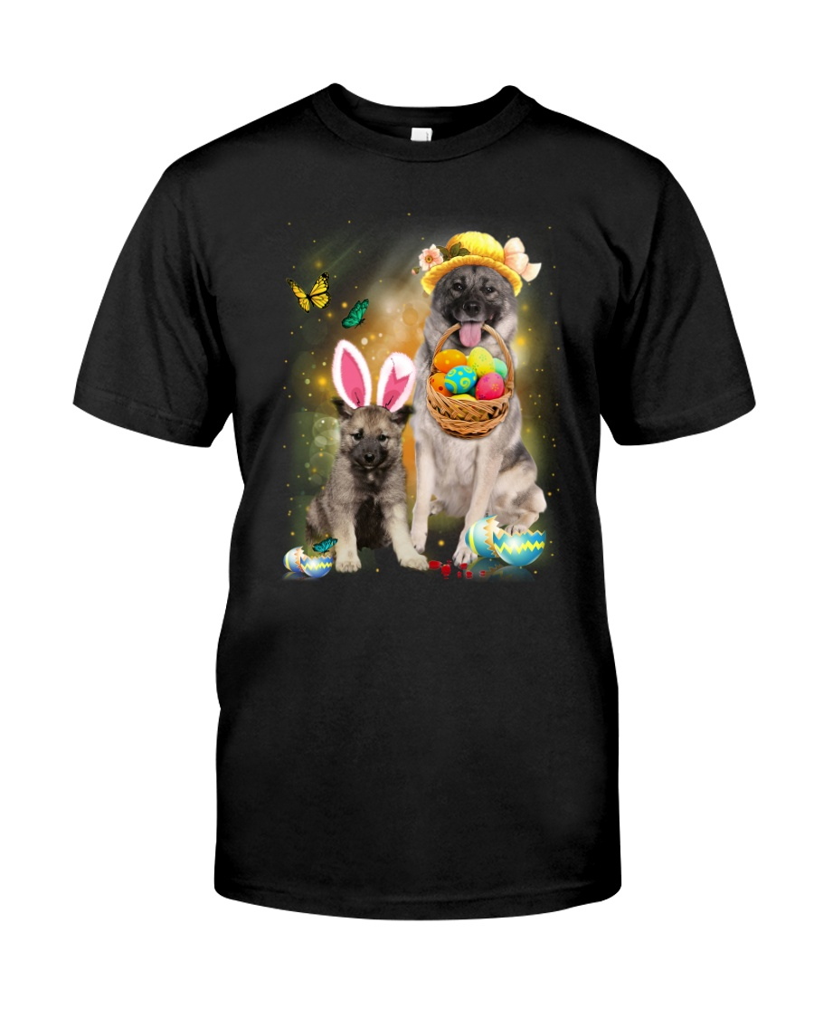 Norwegian Elkhound Happy Easter Day 2601  Classic T-Shirt