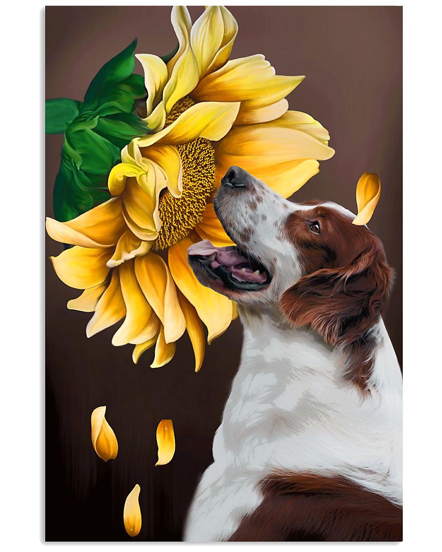 Irish Red and White Setter Sunflower 11x17 Poster