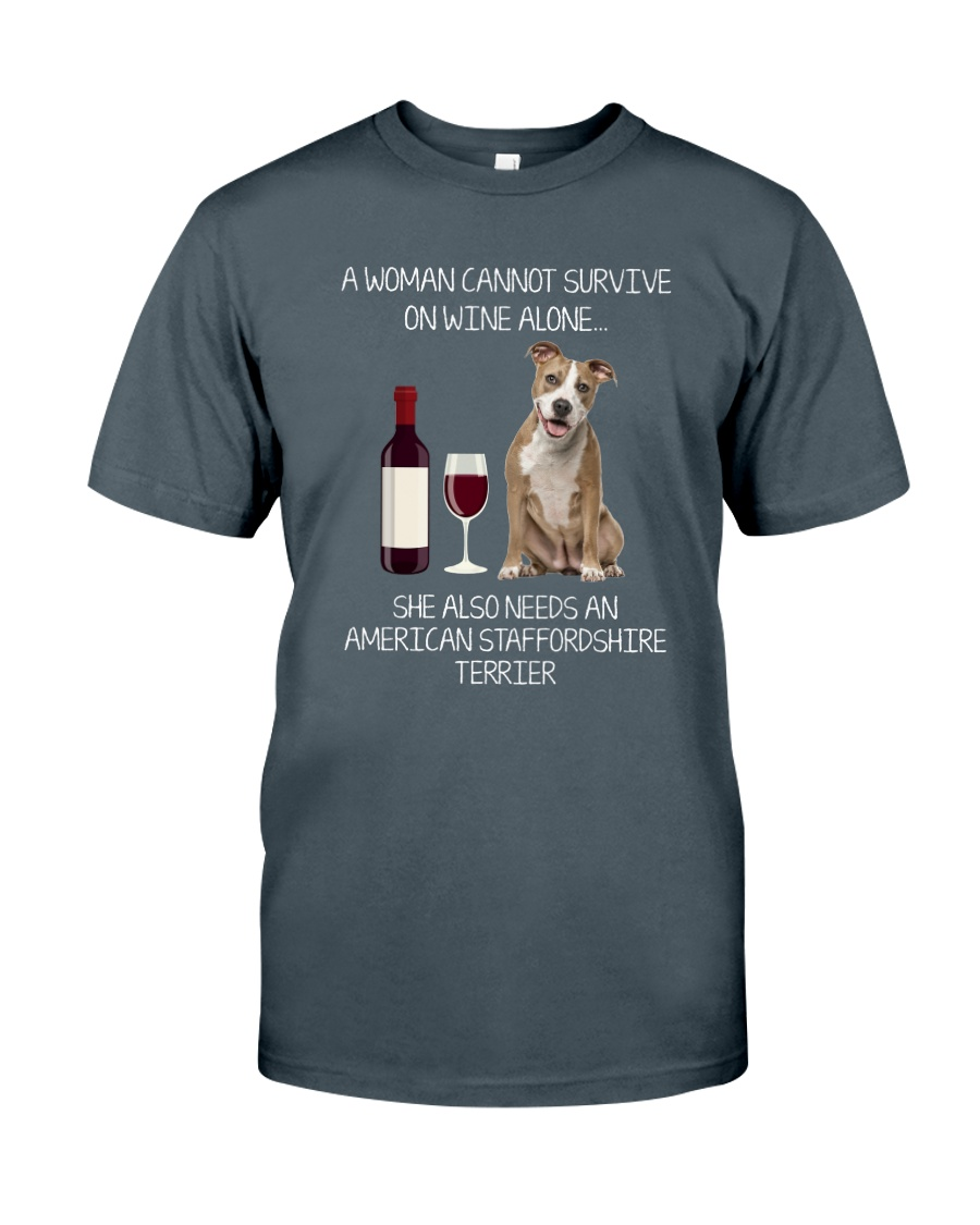 American Staffordshire Terrier and Wine Classic T-Shirt