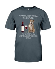 American Staffordshire Terrier and Wine Classic T-Shirt front