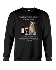 American Staffordshire Terrier and Wine Crewneck Sweatshirt thumbnail