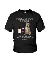 American Staffordshire Terrier and Wine Youth T-Shirt thumbnail