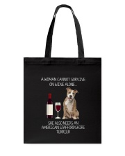 American Staffordshire Terrier and Wine Tote Bag thumbnail