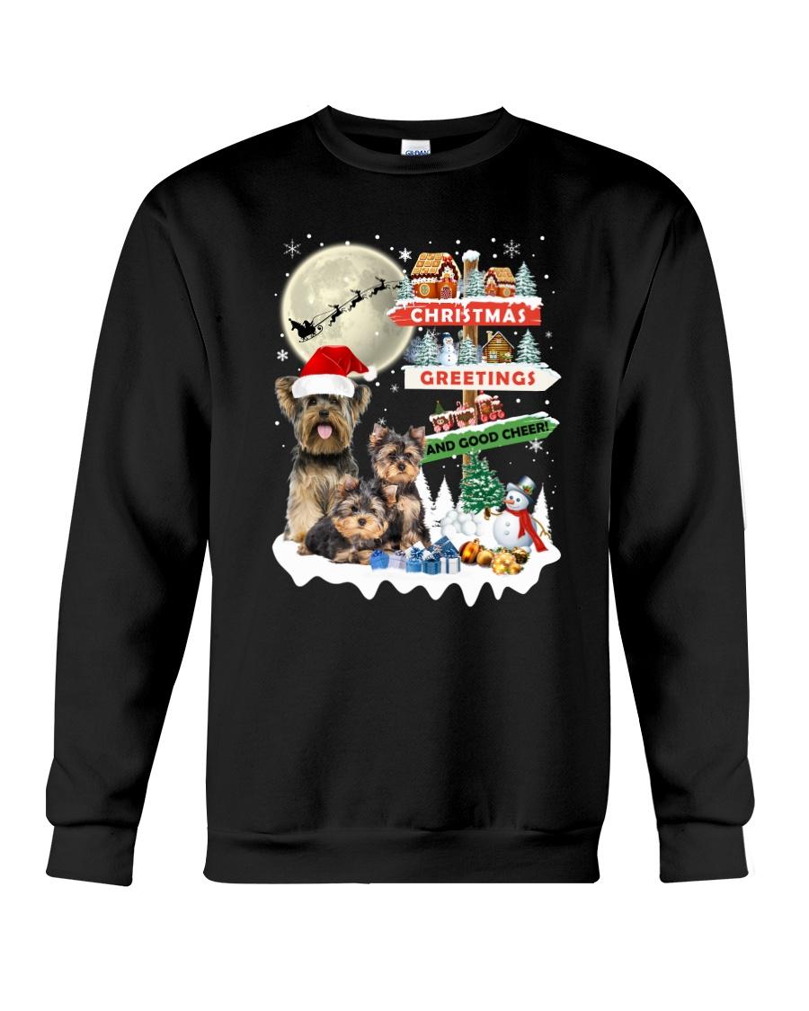 Yorkie christmas greetings 0910 Crewneck Sweatshirt