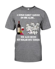 West Highland White Terrier Cannot Survive 3001 Classic T-Shirt front