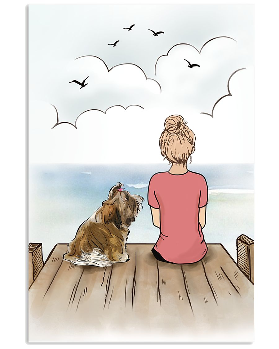 Shih Tzu and Girl Poster 1212  11x17 Poster