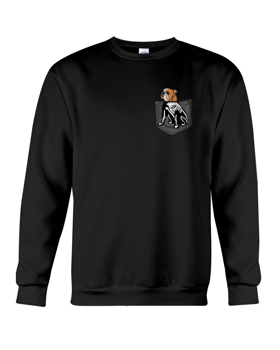 Bulldog Skeleton Pocket 0712 Crewneck Sweatshirt