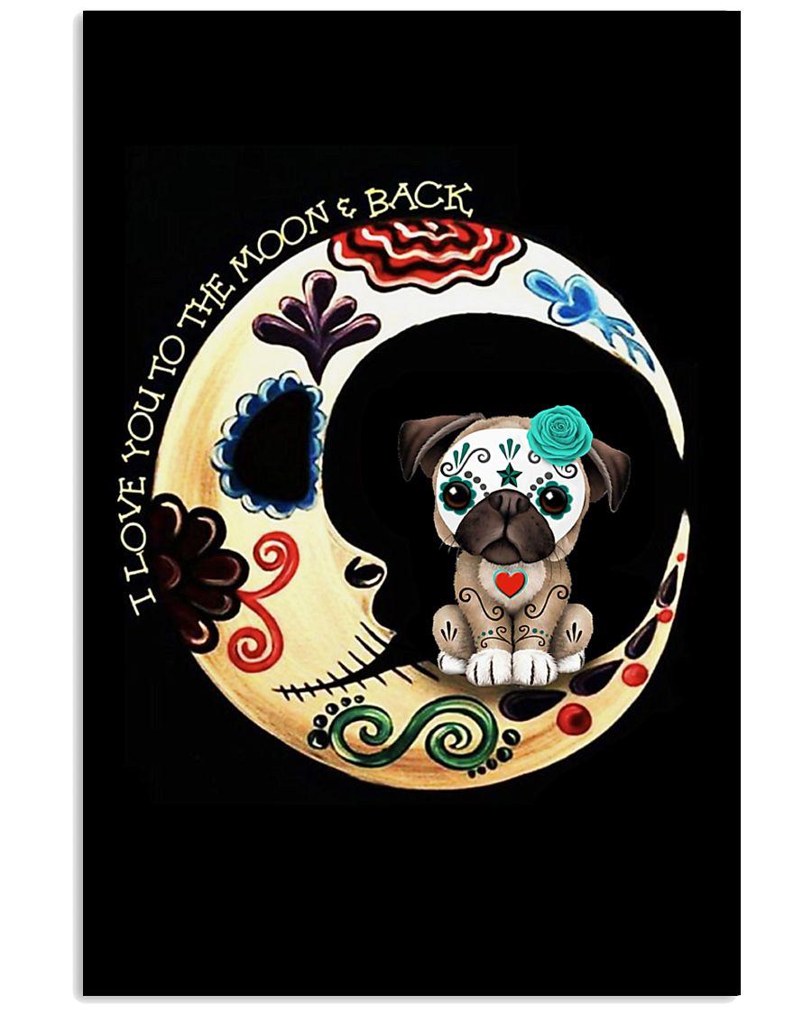 Pug Love Moon 16x24 Poster