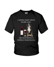 Bernese Mountain Dog and wine Youth T-Shirt thumbnail