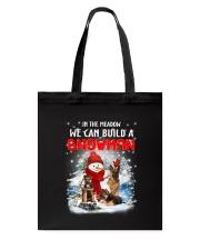 German Shepherd And Snowman Tote Bag thumbnail