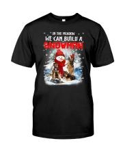 German Shepherd And Snowman Classic T-Shirt thumbnail