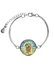 Golden Retriever Be The Flowers Metallic Circle Bracelet thumbnail