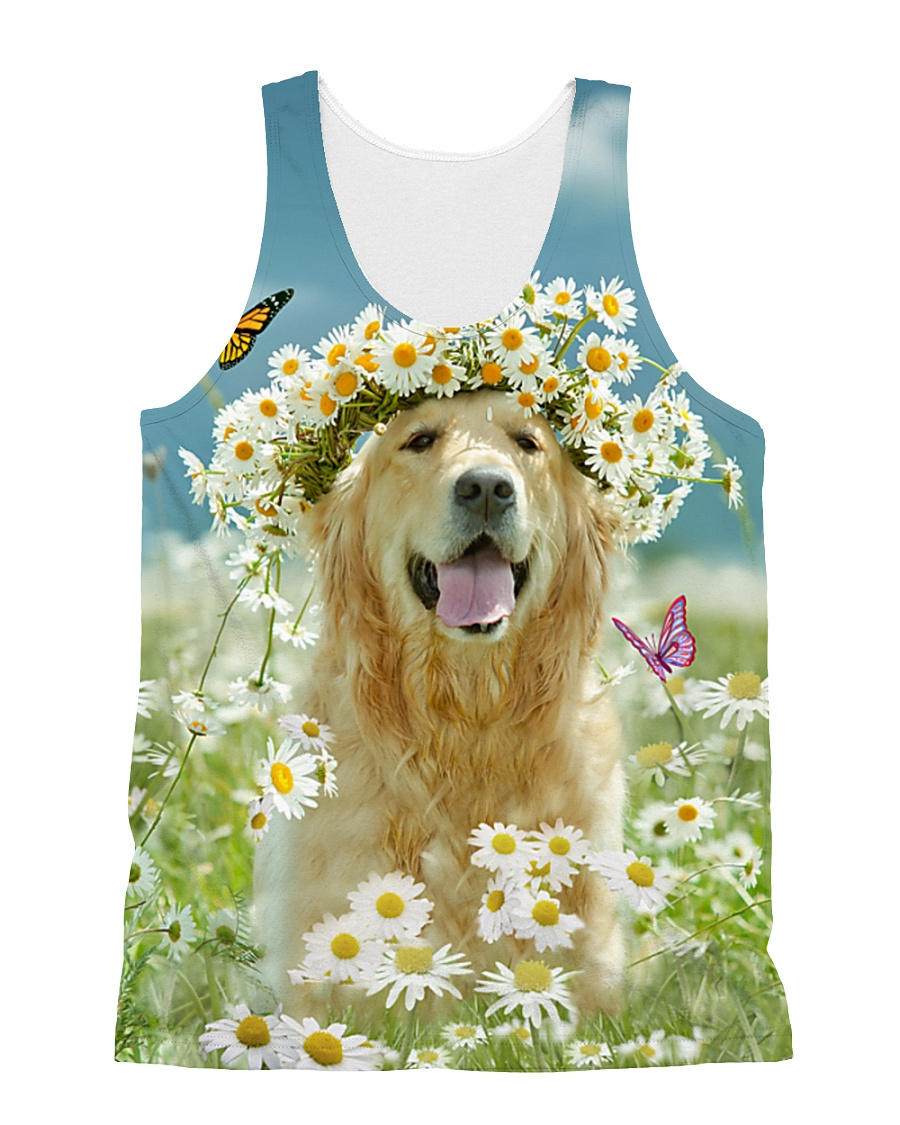 Golden Retriever Be The Flowers All-over Unisex Tank