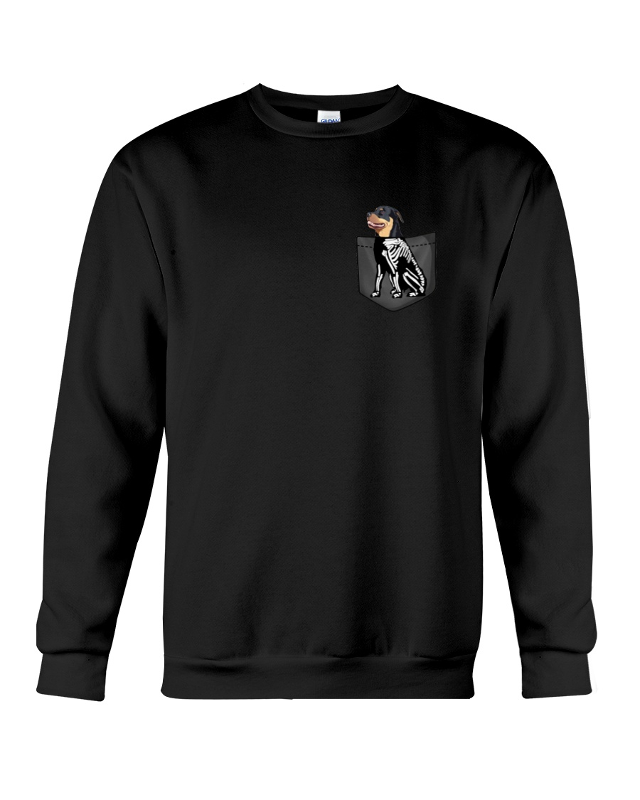 Rottweiler Skeleton Pocket 0712 Crewneck Sweatshirt