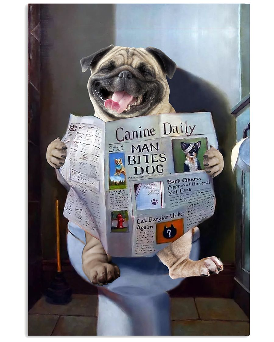 Pug Newspapers Poster 0501 11x17 Poster
