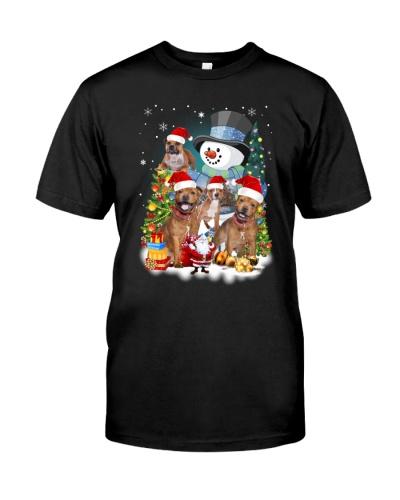 Staffie around snowman 0910
