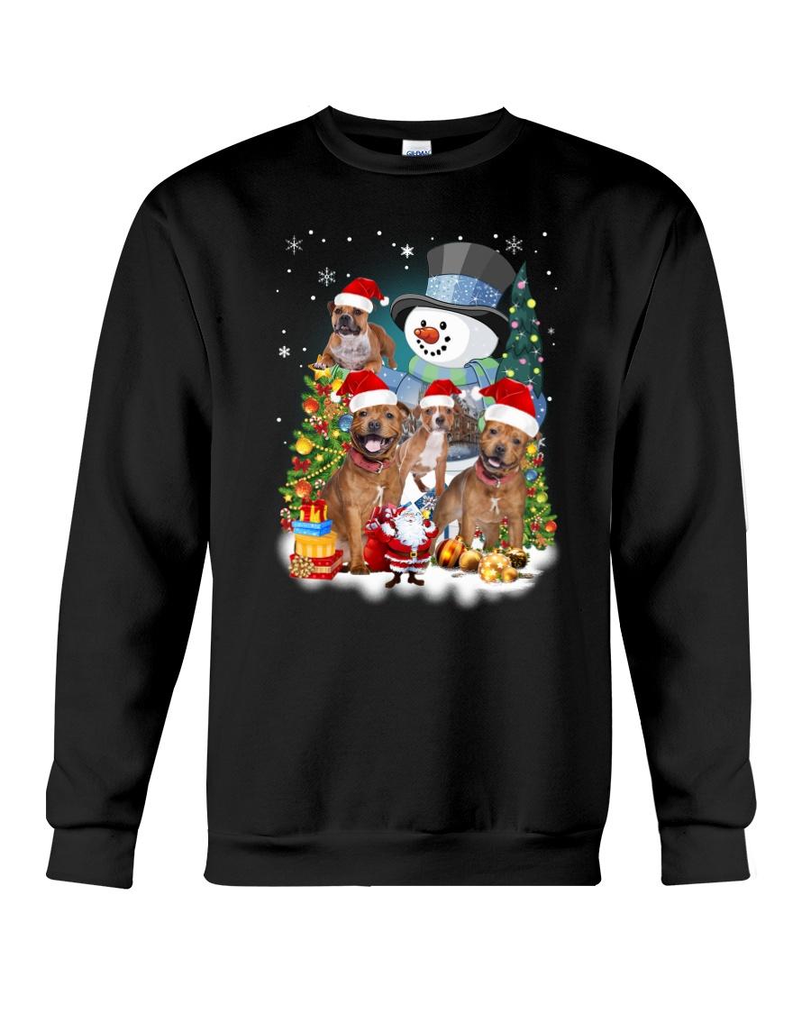 Staffie around snowman 0910 Crewneck Sweatshirt
