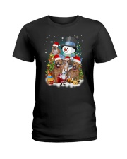 Staffie around snowman 0910 Ladies T-Shirt thumbnail