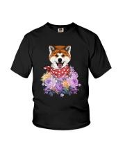 Akita flowers Youth T-Shirt thumbnail
