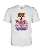 Akita flowers V-Neck T-Shirt thumbnail