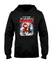 Rottweiler And Snowman Hooded Sweatshirt thumbnail