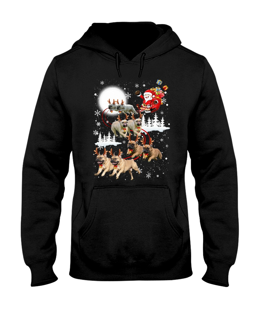 EROS - French Bulldogs Reindeers - 0611 - 74 Hooded Sweatshirt