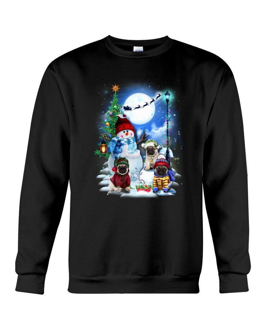 Pug and snowman Crewneck Sweatshirt