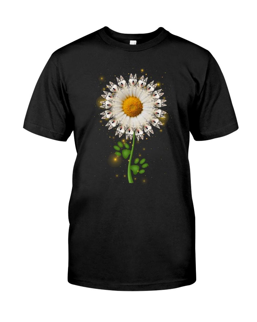 Siberian Husky Daisy Flower  Classic T-Shirt